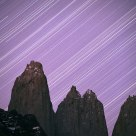 Star Tracks Over the Torres Del Paine, Patagonia, Chile