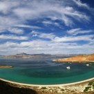 Overview of a half moon cove, Isla San Francisco, Baja California