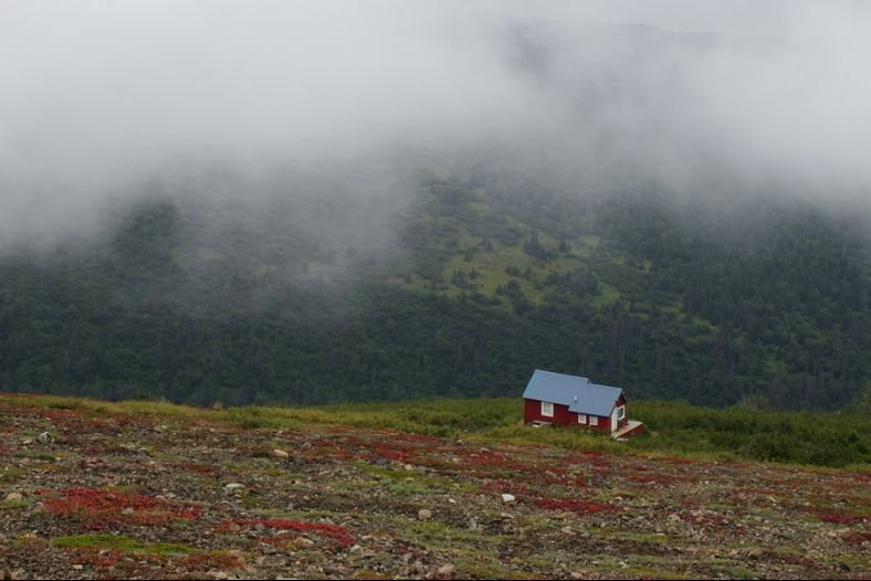 A Lone House Near Flattop Mountain in the Chugach Range