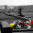 Flowers at Auschwitz entrance