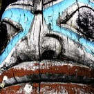 Tlingit Carved Totem Pole Face