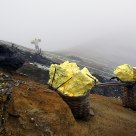 Sulfur mining at Ijen Volcano - On the crater edge