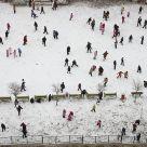 School playground, first snow