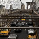 Yellow Taxis on Brooklyn Bridge