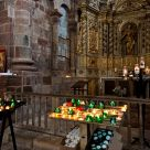 Wax candles in the church of Conques