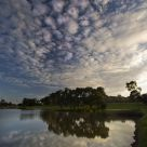 Evening clouds over the pond