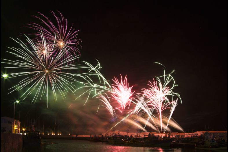 Fireworks on the small fishing port of la Cotiniere