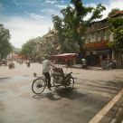 Bicycle rickshaw in the streets of Hanoi