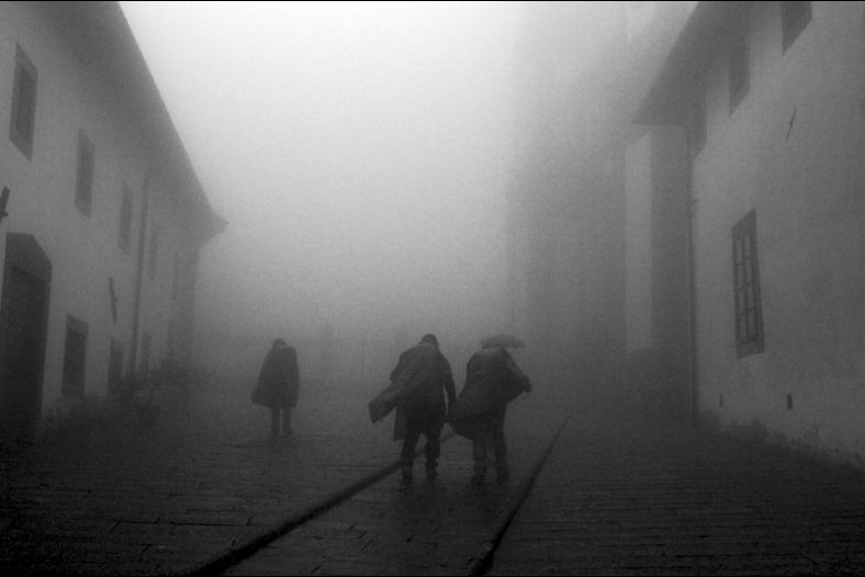 Monastery shrouded in fog