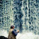 Fishing under the falls