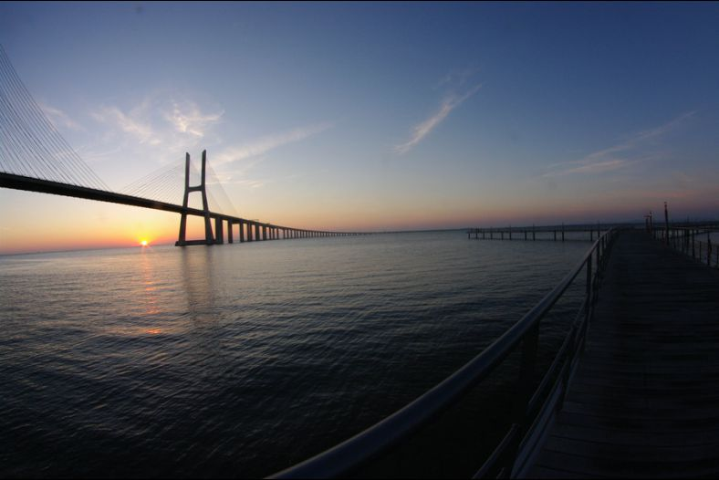 Sunrise Vasco da Gama Bridge, Lisbon is currently the largest in Europe