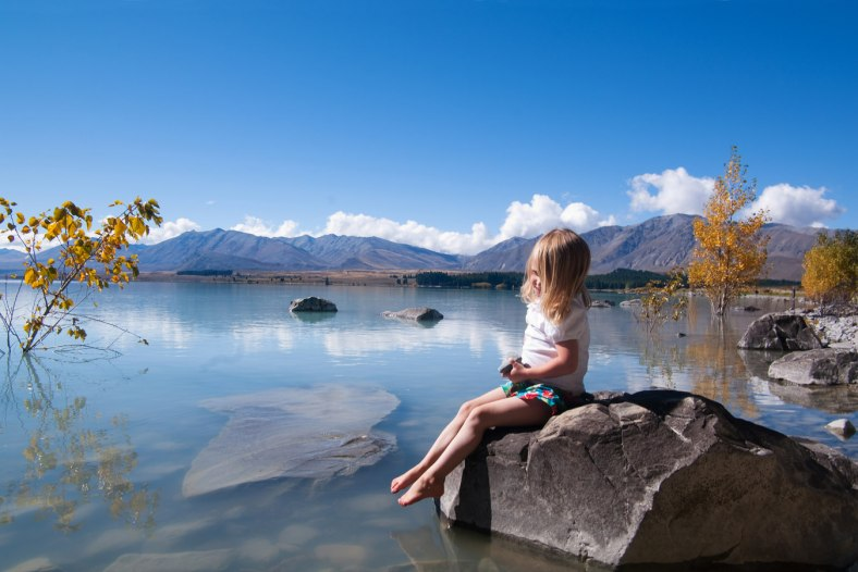 Little girl at Lake Tekapo