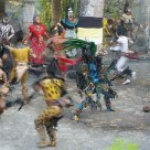 Ancient Mayan Warriors performing a