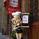 Ancient Tuscan Restaurant and modern waitress
