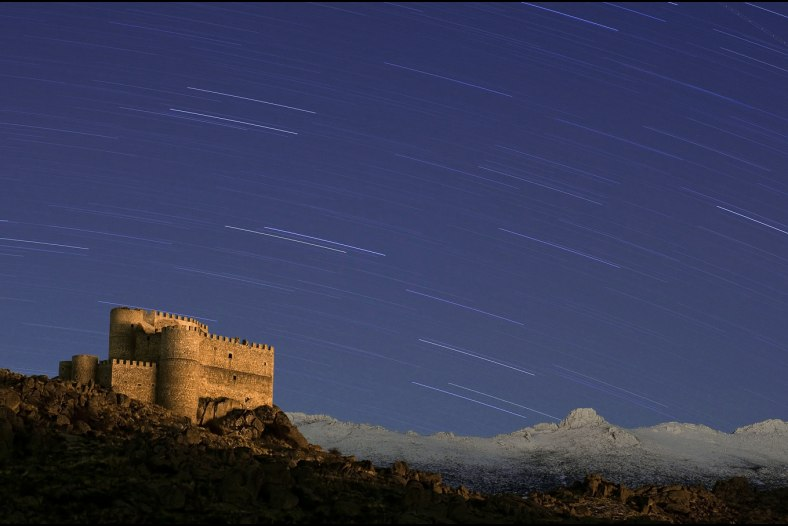 Star trails in the mountain