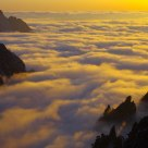 Huangshan Mountain and seas of clouds at dusk