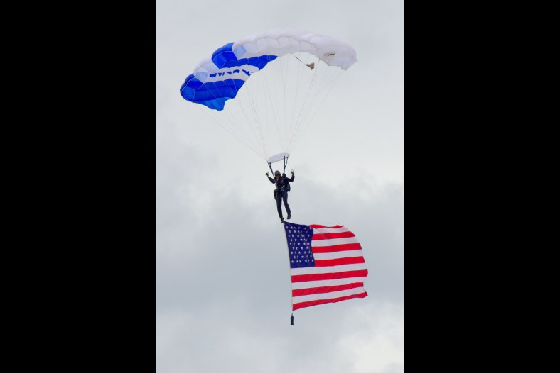 Jumping Off--Wings of Blue Parachute Team