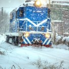 DF7 locomotive in blizzard