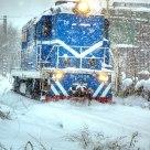 DF7 locomotive in blizzard
