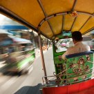 Zipping through the streets of Bangkok.