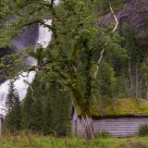 Waterfall and old house.