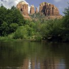 Cathedral Rocks and Red Rock Crossing in summer
