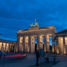 The Brandenburg Gate with car taillight traces