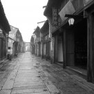 Old street in rain