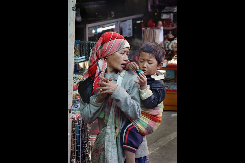 Laos lady and her son...