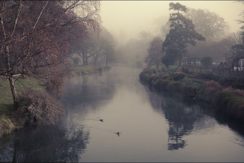 Misty morning on the Avon River, Christchurch, New Zealand