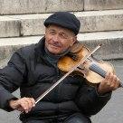 Portrait of a street artist violinist