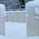 Commonwealth war graves shrouded by snow