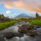 Cloud-covered Mayon Volcano