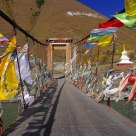 Prayer flags on bridge