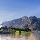 The village between deep fjords and high mountains, Hestenesoyra - Norway