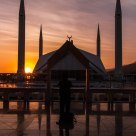 Faisal Mosque at sunset