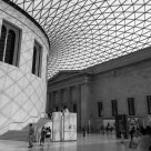 In the Great Court of the British Museum (B&W)