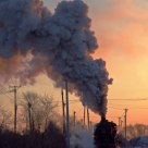 JS steamloco in sunset