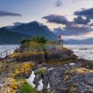 The small lighthouse on the ness.  Nordfjorden - Norway