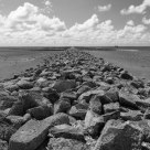 Looking out on the Wadden Sea at Bsum (B&W)