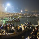 Boats on the river Ganges at night