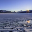The dawn of a new cold day.  The fjord Gloppefjorden - Norway