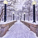 Deering Oaks Bridge in Snowstorm