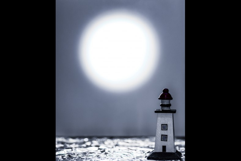 Lighthouse Under the Full Moon