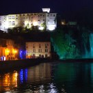 Castle, Waterfall and Isola Liri downtown reflections in the night.