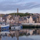Early summer evening in Macduff Harbour. The village of Macduff - Scotland