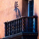 Kokopeli serenading over the Santa Fe Plaza