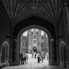 Entering Hampton Court Palace (B&W, vertical)