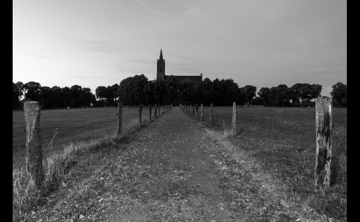 Elisabethkirche at dusk (B&W)