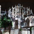 Le Mans cathedral lit up at night